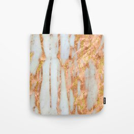 White Alabaster Marble With Flowing Gold-Glitter Veins Tote Bag