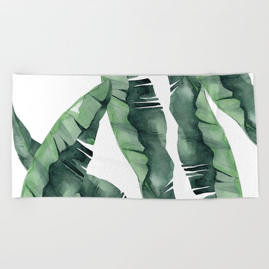 Banana Leaves Green Beach Towel