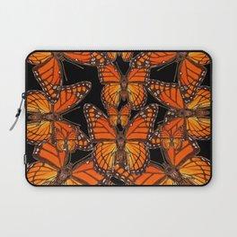 Monarch Butterflies Migration Black Pattern Art Laptop Sleeve