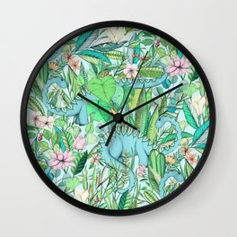 Improbable Botanical with Dinosaurs - soft pastels Wall Clock