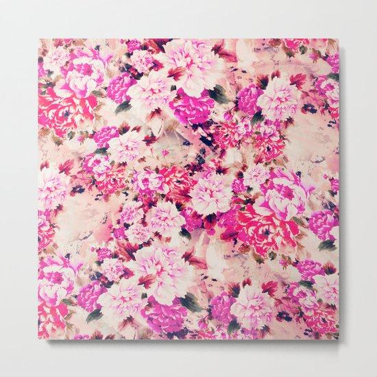 Elegant Pink Chic Floral Pattern Girly Peonies Metal Print