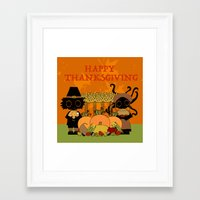 thanksgiving Framed Art Prints featuring Thanksgiving by BLOOP