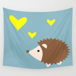hedgehog blue Wall Tapestry