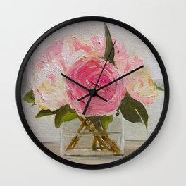 French Peonies Wall Clock