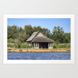 Horsey mere thatched cottage Art Print