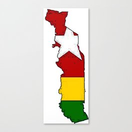 Togo Map with Togolese Flag Canvas Print