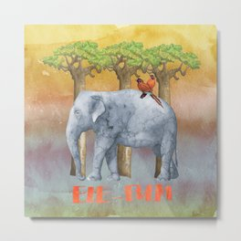 ELE FUN - Elephant Elephants Africa Watercolor Illustration Metal Print
