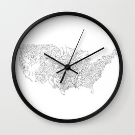 US River Map, River art, American River Map, Hydrological Map Wall Clock