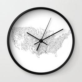 US River Map, River art, American River Map, Hydrological Map Wall Clock