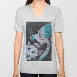 PARROT AND MAGNOLIA IMPRESSION IN BLUE AND LILAC Unisex V-Neck