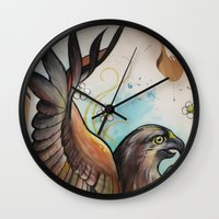 hawk Wall Clocks featuring Hawk by ChaniMurat