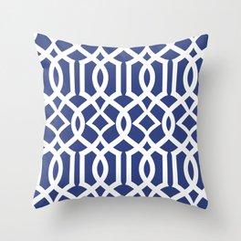 Navy Trellis Throw Pillow
