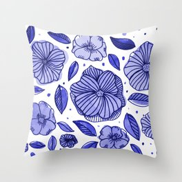 Watercolor and ink flowers - blue Throw Pillow