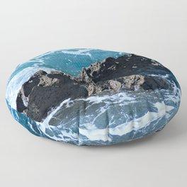 Stormy Sea Coastal Eroded Rock Floor Pillow