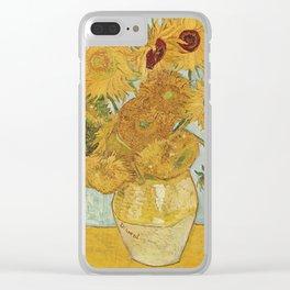 Vincent Van Gogh - Still Life: Vase with Twelve Sunflowers (1881) Clear iPhone Case