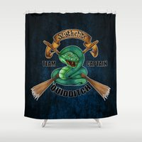 quidditch Shower Curtains featuring Slytherine quidditch team captain by JanaProject