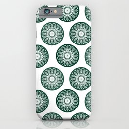 Dark Green Mandala Pattern iPhone Case
