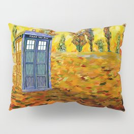 Blue phone Booth at Fall Grass Field Painting Pillow Sham