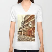 broadway V-neck T-shirts featuring Give My Regards To Broadway by Christine Workman