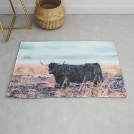 Black highlander cow watercolor painting Rug