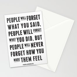 I'll never forget you motivational quote Stationery Cards