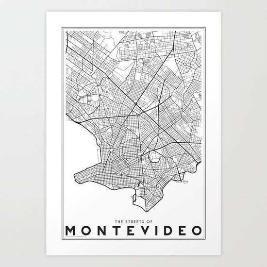 The Streets of Montevideo Map Art Print