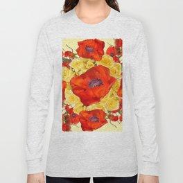 ORANGE POPPY FLOWERS GARDEN YELLOW ROSES ART Long Sleeve T-shirt