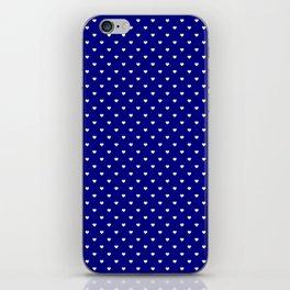 Mini White Love Hearts on Dark Navy Blue iPhone Skin