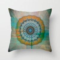 mandela Throw Pillows featuring Grunge Mandela by Robin Curtiss