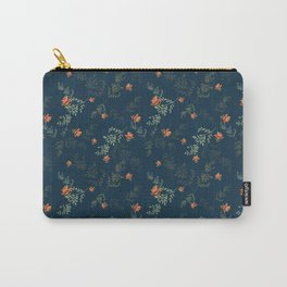 The floral style pattern on a blue background . Carry-All Pouch