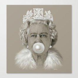 Queen Elizabeth II Blowing White Bubble Gum Canvas Print