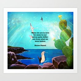 When We Are In Love Inspirational Quote With Blue Ocean Flying Birds Painting Art Print