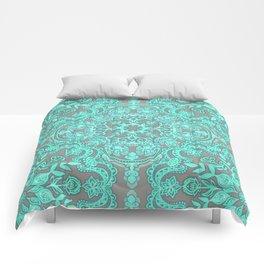 Mint Green & Grey Folk Art Pattern Comforters
