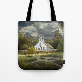 Old Mission Point Lighthouse in Early Autumn Tote Bag