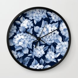 Hydrangea Blue on Blue Larger Pattern Wall Clock