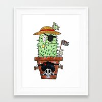 luffy Framed Art Prints featuring Cactus Luffy by Vania Pietronigro
