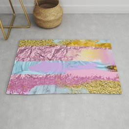 Purple Plum Gold & Blue Brushes Rug