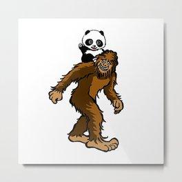 Gone Squatchin with Panda Metal Print
