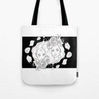 mermaids Tote Bags featuring Mermaids by viviennart