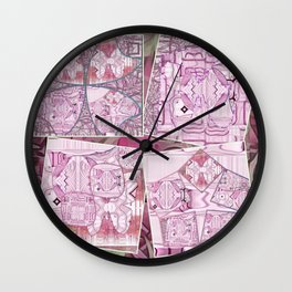 Flamingo Pink Clover Leaf Collage Wall Clock
