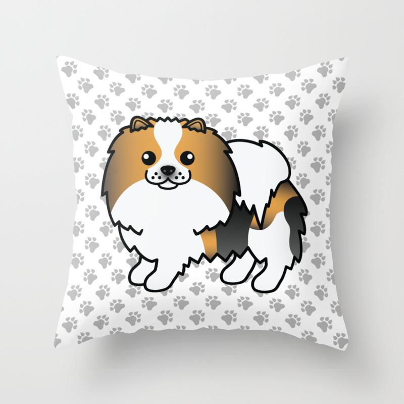 Hound Tricolor Pomeranian Dog Cute Cartoon Illustration Throw Pillow By Destei Society6