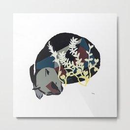cat dreaming in meadow Metal Print