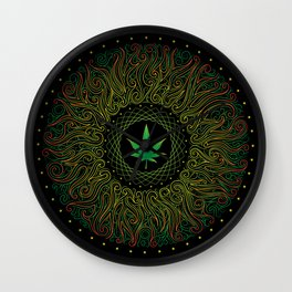 Magic plant. Marijuana leaf. mandala Wall Clock