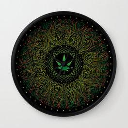 Magic plant. Marijuana leaf. mandala Wall Clock