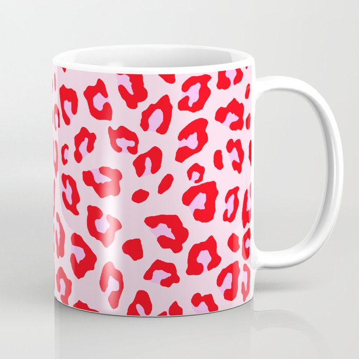 Leopard Print - Red And Pink Coffee Mug