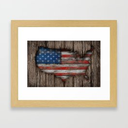 American Wood Flag Framed Art Print