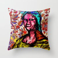 mona lisa Throw Pillows featuring Mona Lisa by Alec Goss