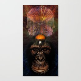 The Primate the mushroom and the Buddah Canvas Print