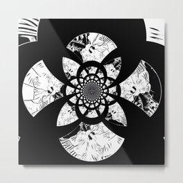 Floral Abstract In Black And White Metal Print