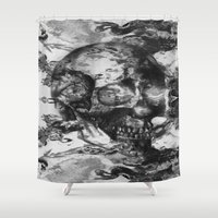 psychadelic Shower Curtains featuring Black and White Psychadelic skull print  by Mermaid Seawolf